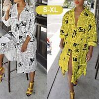 Fashion Women Long Sleeve V Neck Shirt Newspaper Printed Casual Dress Vintage