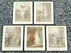 Set Of 5 X Cries Of London Prints In Black Frames & Glazed