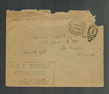1919 US Army Soldier Cover AEF Siberia Russia Allied Expeditionary Force to CA