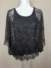 Flawless Forever 21 Grey Lace Top Sz M Batwing Sleeves Gathered Waist
