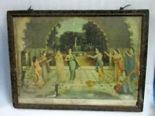 1930's Antique Old Germany Printed Hindu God Krishna Playing Holi Litho Print