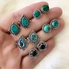 5Pairs/Set Women BohoTurquoise Earrings Water Drop Round Silver Ear Stud Jewelry