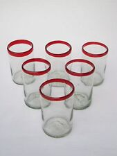 Mexican Glassware - Ruby Red Rim drinking glasses (set of 6)
