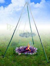 Portable Stainless Steel Tripod Tri-pod Cooking Camp Campfire BBQ Hanger Grill