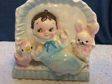 Vintage  Baby Boy chick Bunny Rabbit  Ceramic Planter