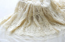 "1 Yard Lace Fabric Beige Tulle Cotton Floral Retro Embroidered Wedding 51"" width"