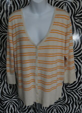 Maurices Womens Size XL V-Neck Striped Sweater Button Front 3/4 Sleeve Knit Top