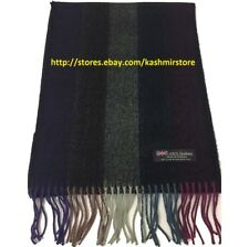 100% Cashmere Scarf Tweed Stripe Black/purple//gray/plum Scotland Warm Wool Wrap