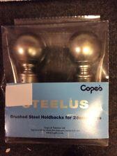 HOLDBACKS BNIB Pair STEELUS Ball Finial Holdbacks Brushed Steel