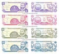 Nicaragua 1 + 5 + 10 + 25 Centavos 1991 Set of 4 Banknotes 4 PCS U