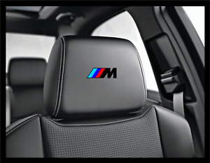 5x BMW M Logo Black Headrest Car Seat Decals Stickers Performance Motorsport E F