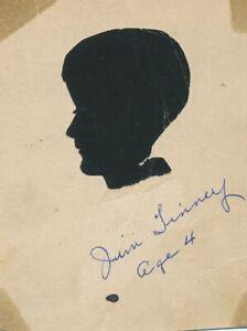 "c1920 Papercut Silhouette ""Jim Tinney, Age 4"" Folk Art"
