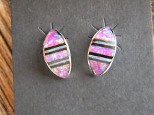 inlaid multi color fire opals stones Sterling silver Zuni made post earrings