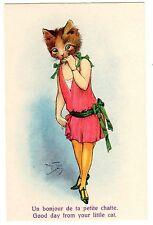POSTCARD THIELE CAT HEAD ON WOMAN'S BODY RED DRESS L & P 2431