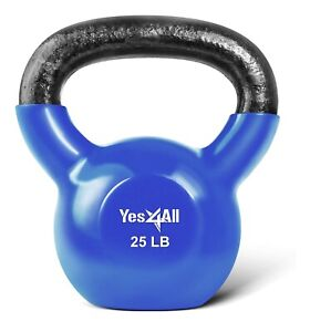 Yes4All 25 lbs Vinyl Coated Wide Grip Flat Bottom Kettlebell Full Body Workout!