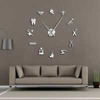 Dental Clinic Wall Clock 3D DIY Acrylic Mirror Effect Watch Needle Quartz Clocks