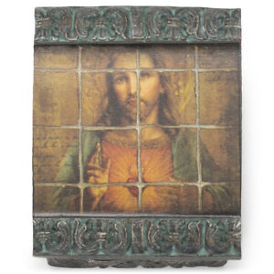 Sepia Sacred Heart Father 3 x 1.5 Resin Decorative Keepsake Box