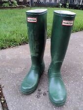 Hunter Original Tall Rubber Rain Boots Matt Green  Women's 6 M