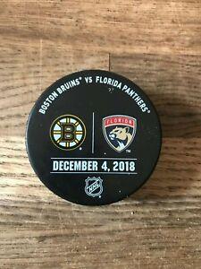 Florida Panthers Boston Bruins Game Used Warm Up Puck 12/4/18 NHL