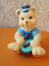 BABY BEAR WITH DRUM vintage rubber toy