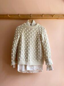 Vintage 80s hand-knit popcorn sweater cream small retro acrylic classic fit