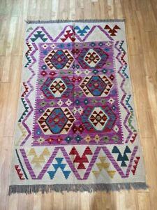 Oriental Afghan Handmade Kilim Area Rug Wool Natural Colours 120x179cm Vintage