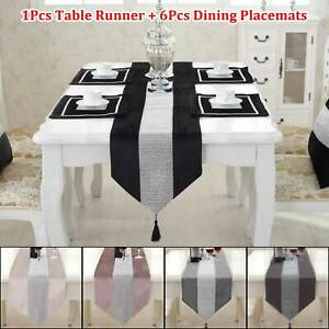"72"" Diamante Velvet Table Runner + 6pcs Dining Placemats Table Place Mats Decor"