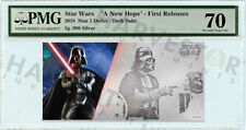 2018 SILVER STAR WARS DARTH VADER - 5 GRAM COIN NOTE - PMG 70 FIRST RELEASES