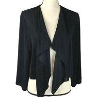 Alex Evenings Glitter Black Knit Crop Open Cardigan Womens XL 3/4 Wide Sleeves