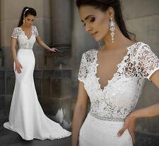 Neu Spitze A-Linie Brautkleid Langarm Hochzeitskleid Abendkleid Gr. 32 -44