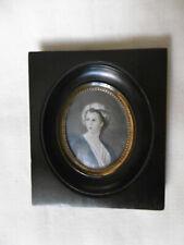 Peinture Miniature Peinte à la Main 19ème PORTRAIT de FEMME / French Antique