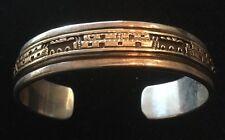 Bruce Morgan Native American 14K Gold Sterling Silver Town Cuff Bracelet Navajo