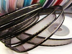 "25 yards Roll 3/8"" Organza Ribbon Gold Edged Trim/Sheer/Craft/Supply R11-Colors"