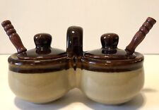 Vintage Two Tone Brown Stoneware Double Condiment With Spoons