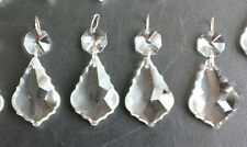 30 Clear French Crystal 38Mm Glass Prism Chandelier Lamp Part Silver Pendant Lot