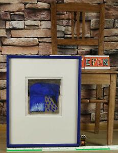 Horst Becking 1937 Gemälde 1998 sparen abstrakte Komposition blau Bankensammlung