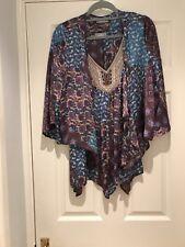 Wallis Hanky Hem Top & Matching Drape Fronted Jacket Size L 18/20 Silky Fabric