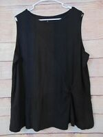 Cuddl Duds Softwear Stretch Twist Front Tank Top Solid Black Women's 3x A373510