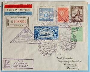 PARAGUAY via BRAZIL to GERMANY 1935 ZEPPELIN, 16th SAF Flight Airmail Reg Cover