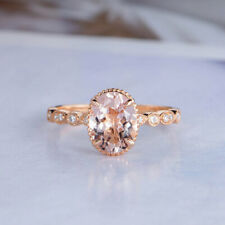2Ct Oval-Cut Morganite Diamond Solitaire Engagement Ring 14K Rose Gold Finish.