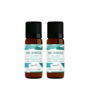 WellbeingMe De-Stress - Basil, Lemon & Bergamot Essential Oil Multipack (x2)
