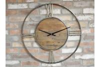 70cm Large Skeleton Edge Distressed Gold Grey Metal & Wooden Circular Wall Clock