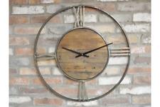 70cm Large Skeleton Distressed Gold Grey Metal Wooden Circular Wall Clock Round
