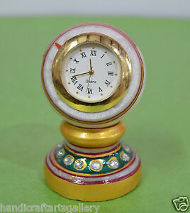 """3"""" White Marble Beautiful Hand Carved & Hand Painted Watch Home Decorative H693"""