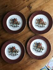 FOUR Weatherby Hanley England Royal Falcon Ware 2-69, Fox Hunting Scene, Gold