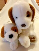 First & Main Scooter Plush Puppy Beagle Dog White Brown with Puppy #3035 NWT