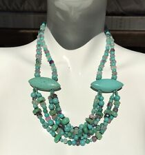 Turquoise Bib Style Statement Necklace With Amethyst & Silver Hook - 20.5 Inch