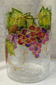 Yankee Candle Frosted Crackle Large Jar Holder VINEYARD GRAPES Hand-Painted Gold