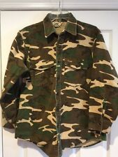 Vintage Rare Duxbak Green Brown Camo Camouflage Shirt  Hunting Outdoor Sz Large