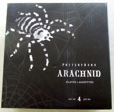Set of 4 or 8 Pottery Barn Spider Arachnid Tidbit Appetizer Plates NEW Halloween